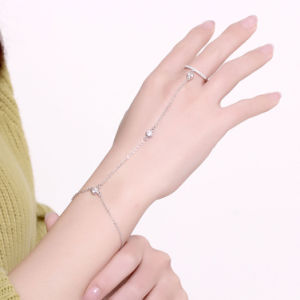 2017 Fsahion Design 925 Sterling Steel bracelet with Ring Popular Three Zircon Link Bracelet pictures & photos