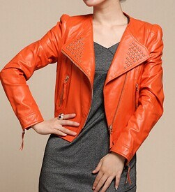 Women′s Short Slim Fit Shinning Orange Turnover Collar Zipper Biker Jacket OEM Order pictures & photos