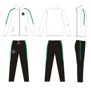 White Color with Green Strips Track Suit for Women Clothes pictures & photos