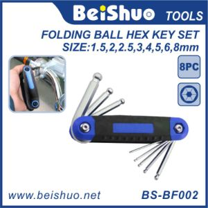 8in1 Metric Folding Ball Hex Key Set with Rubber Handle pictures & photos