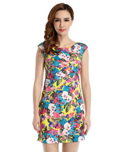 2015 Newest Fashion Flower Printing Women Dress 60613204800