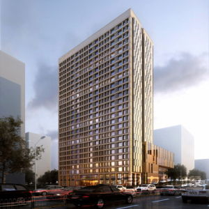 High Rise Office Architecture Exterior Rendering Visualization