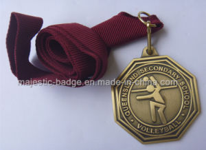 Customized Volleyball Medallion & Antique Bronze Process pictures & photos