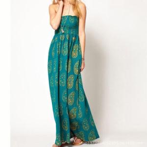 Long Slip Dress Strip Dress Printed Fashion Dress (LD-007)