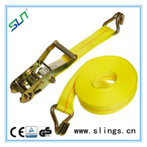 Yellow Ratchet Tie Down Straps with Double J Hook pictures & photos