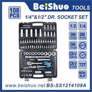 "108PCS CRV 1/4""&1/2"" Dr. Socket Set for Household pictures & photos"