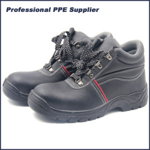 PU Injection Leather Safety Shoes with Steel Toe pictures & photos