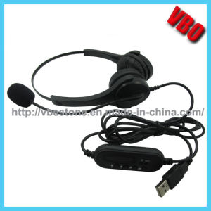 Best Selling Call Center Telephone Headphone with USB Plug pictures & photos