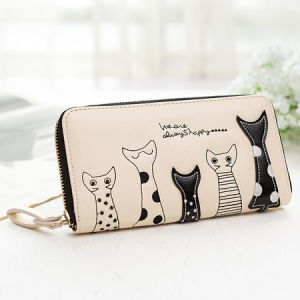 Lady Wallet, PU Women Wallet, Embossed Cute Cat Wallet pictures & photos