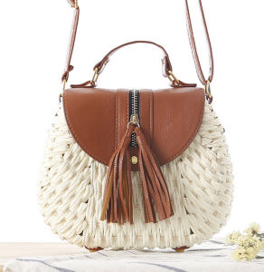 Factory Sale Latest Long Leather Strap Straw Small Crossbody Sling Bag pictures & photos