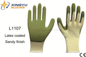 10g High Grade Polyester Shell Latex Sandy Coated Safety Work Glove (L1107) pictures & photos