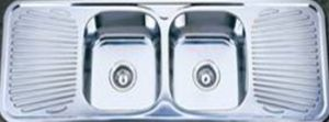 Double Bowl Kitchen Sink with Two Drainboard (KID13848) pictures & photos