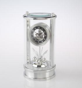 Silver Color Metal Skeleton Table Clock