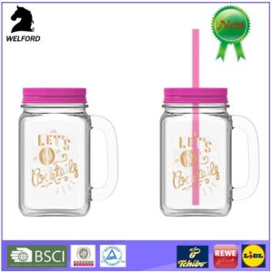 Clear Glass Mason Jar with Lid; High Quantity Glassjar; Cup with Straw