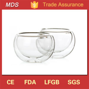 High-Strength Boroslicate Glass Double Wall Glass Bowl Tea Set pictures & photos