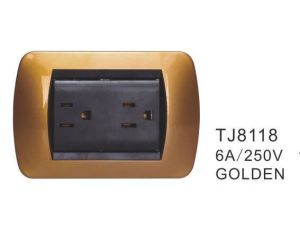 15A 127V 2 Gang 3 Pin Socket ABS Material South America Uruguay Electrical Wall Socket pictures & photos