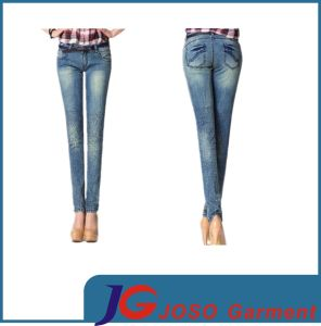 Cacual Blue Half- Print Leopard Skinny Jeans pictures & photos