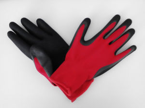 Polyester Shell Nitrile Sandy Coated Safety Work Gloves (N3401) pictures & photos