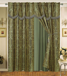 Luxury Jacquard Window Curtain with Lace Edge 03