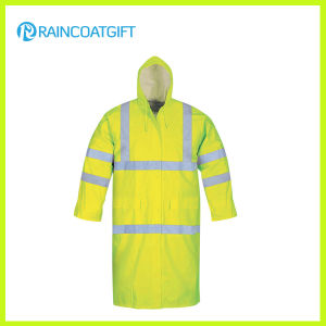 Fluorescence Color Reflective Waterproof PVC Polyester Rain Jacket pictures & photos