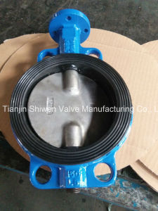 Two Shaft Wafer Butterfly Valve with Aluminum Handle pictures & photos