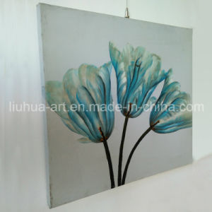 Elegant and Graceful Blue Flower Painting on Canvas (LH-248000) pictures & photos