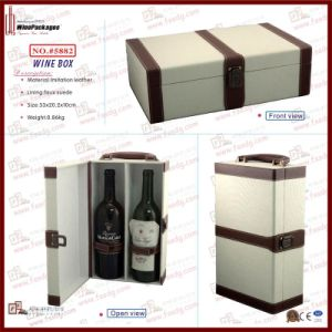 Dual Bottle Upmarket Leather Gift Wine Storage Box (5882) pictures & photos