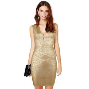 Deep V Hollow Knitted Bandage Gold Stamping Night Club Dresses pictures & photos