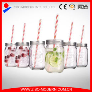 12oz 14oz 16oz 20oz 24oz Mason Jar Drinking Glass with Tin Lid Straw pictures & photos
