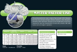 Various Sizes of Master Anchor Line/Polyester Rope/Doublebraid Rope