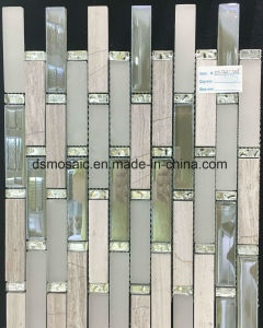 Classicial Stripe Wooden Marble and Glass Mosaic pictures & photos