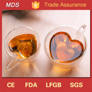 Heart Shaped Transparent Double Layer Glass Tea Coffee Cup Mug pictures & photos