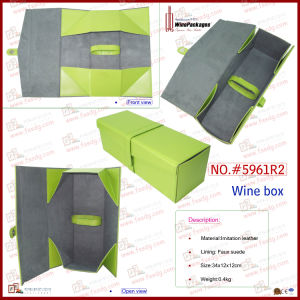 Spring Green Foldable Single Bottle Wholesale Wine Case (5961R2) pictures & photos