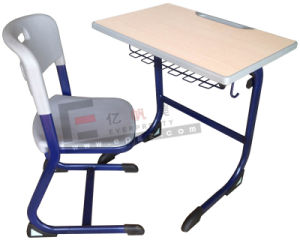 Classroom Furniture Single Student Desk and Chair with Bookself pictures & photos