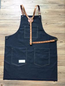 Custom Blue Work Uniform Apron with Cross Back Leather pictures & photos
