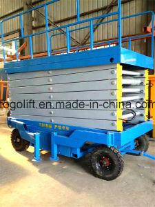 18m Manual Electric Mobile Scissor Lift Platform pictures & photos