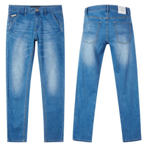 New Design Men′s Loose Cotton Blue Denim Jean Pant pictures & photos