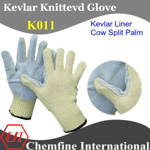 Kevlar Knitted Glove with Cow Split Leather Palm pictures & photos