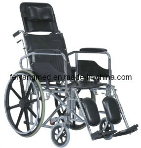 Chromed Foldable Steel Wheelchair with Reclining Back (FY954GCB) pictures & photos