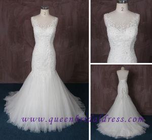2015 New Mermaid Wedding Dress with Illusion Scoop Neckline