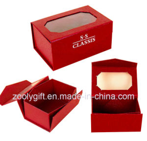 Red Special Paper Folding Box with Top Clear PVC Window pictures & photos