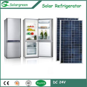 Hot Sell Double Doors Electricity Saving Solar Upright Refrigerator pictures & photos