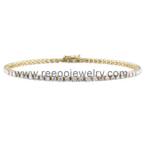 18k Gold Clear CZ Diamonds Bracelet Jewelry