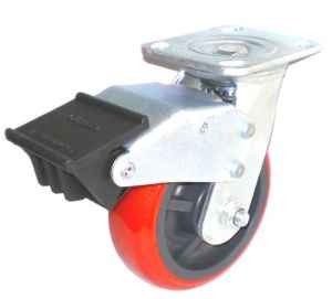 EH07 Swivel PU Caster with Dual Brake (Bright Red) pictures & photos
