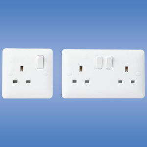 British Standard 1 (2) Gang Switched Socket, Single (double) Pole (UK standard) pictures & photos