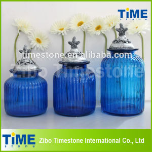 Set of 3 Blue Color Glass Food Storage Jar pictures & photos