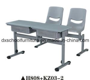 Double Adjustable Height School Desk and Chair Set H808+KZ03-2 pictures & photos