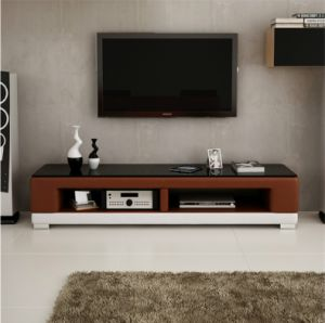 2016 Hot Sale Glass Top Leather TV Stands for Livingroom Use (TV017) pictures & photos