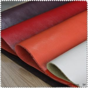 Embossed Printing Thick PU Furniture Bonded Faux Leather for Shoes, Bag (S019) pictures & photos