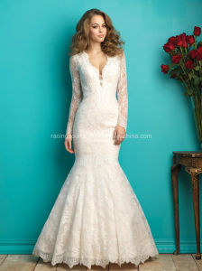 V-Line Long Sleeve Bridal Gown See Through Lace Wedding Dress pictures & photos